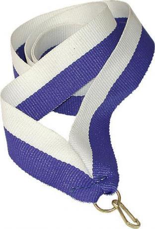 Лента для медали бело-синяя
