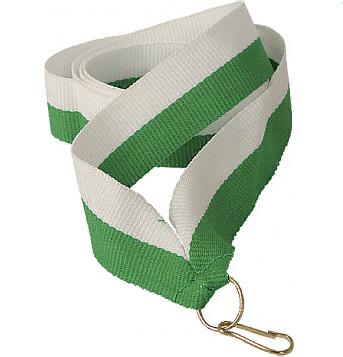Лента для медали бело-зеленая
